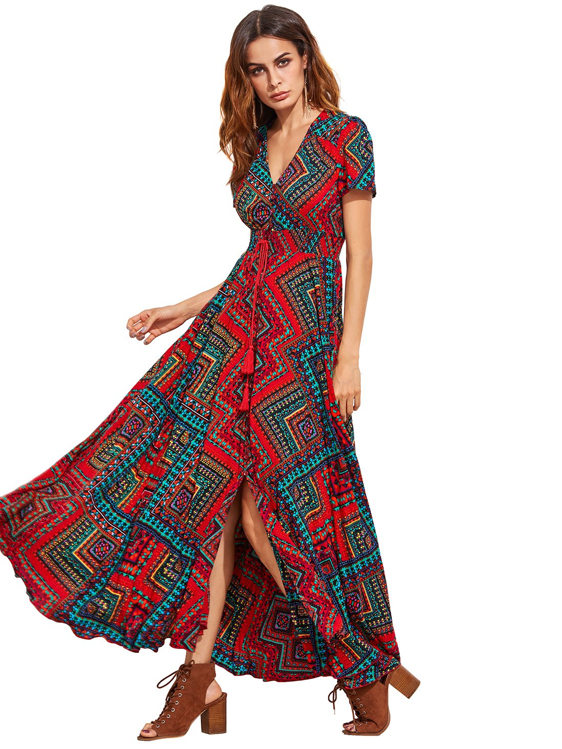 71662b02ce8 Galleon - Milumia Women s Button Up Split Floral Print Flowy Party Maxi  Dress X-Large Red Turquoise