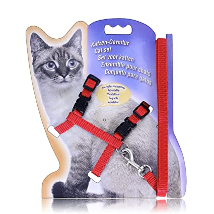 YiMKH Cat Harness, Adjustable Harness Nylon Strap Belt Safety Rope Leads, Cat Leash and