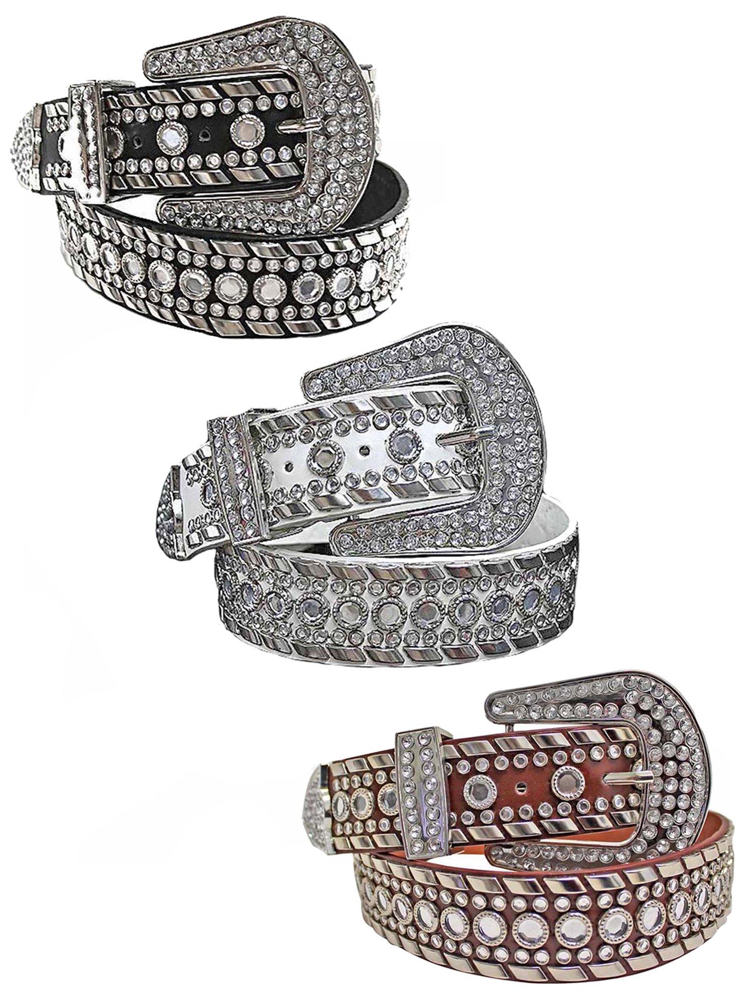 Black White Brown 3 Pack Rhinestone Western Belt For Women Size Medium by Luxury Divas (Image #1)