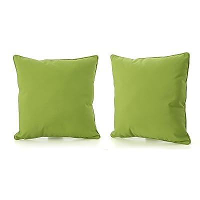 Christopher Knight Home 300738 Coronado Corona Outdoor Square Water Resistant Pillow (2, Green), 2-Pcs Set : Garden & Outdoor