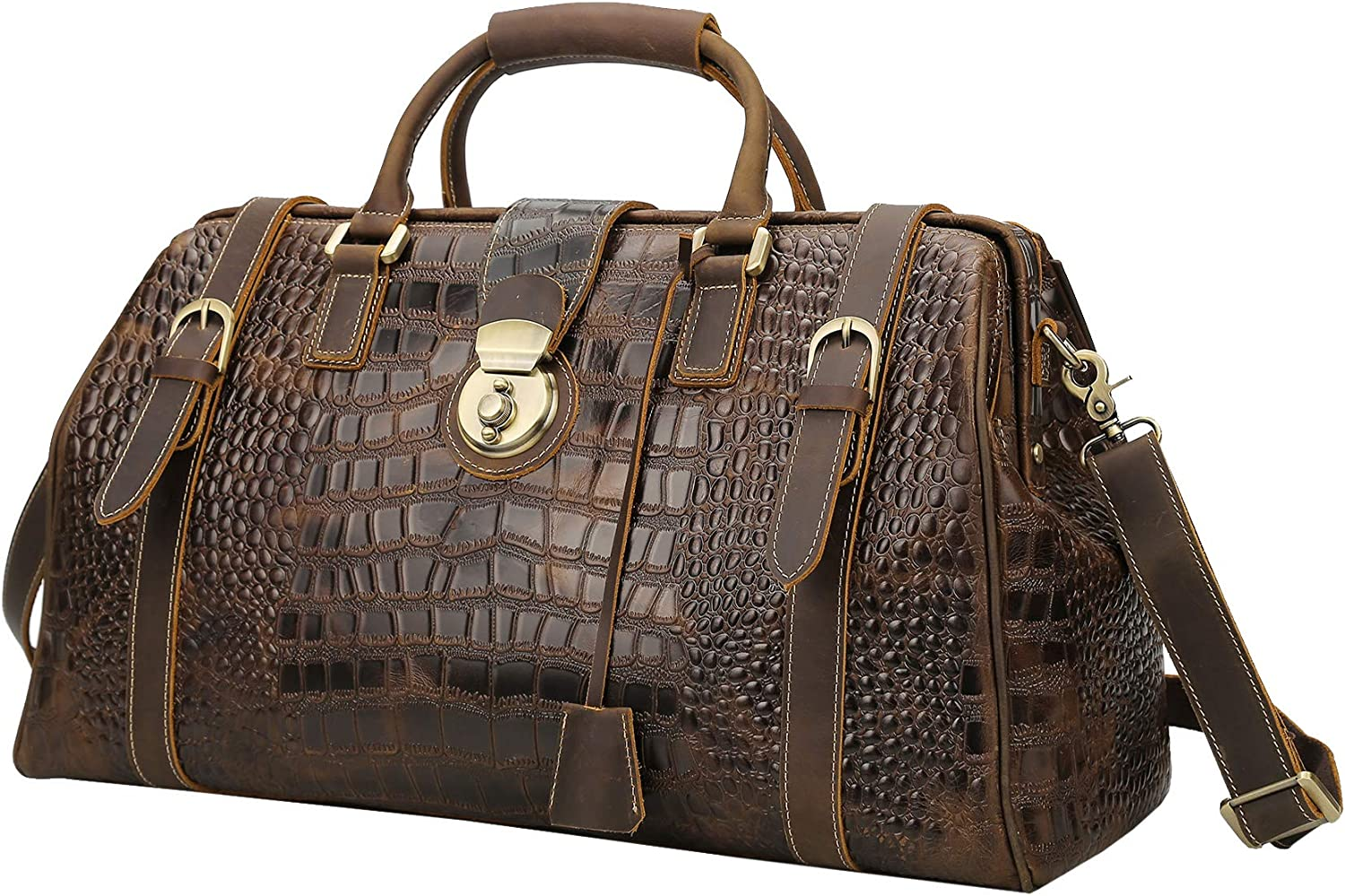 Polare 21 Crocodile Pattern Cowhide Leather Weekender Travel Overnight Luggage Duffel Bag
