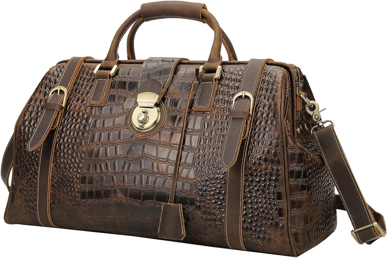 Polare 21 Crocodile Pattern Cowhide Leather Weekender Travel Overnight Luggage Duffel Bag
