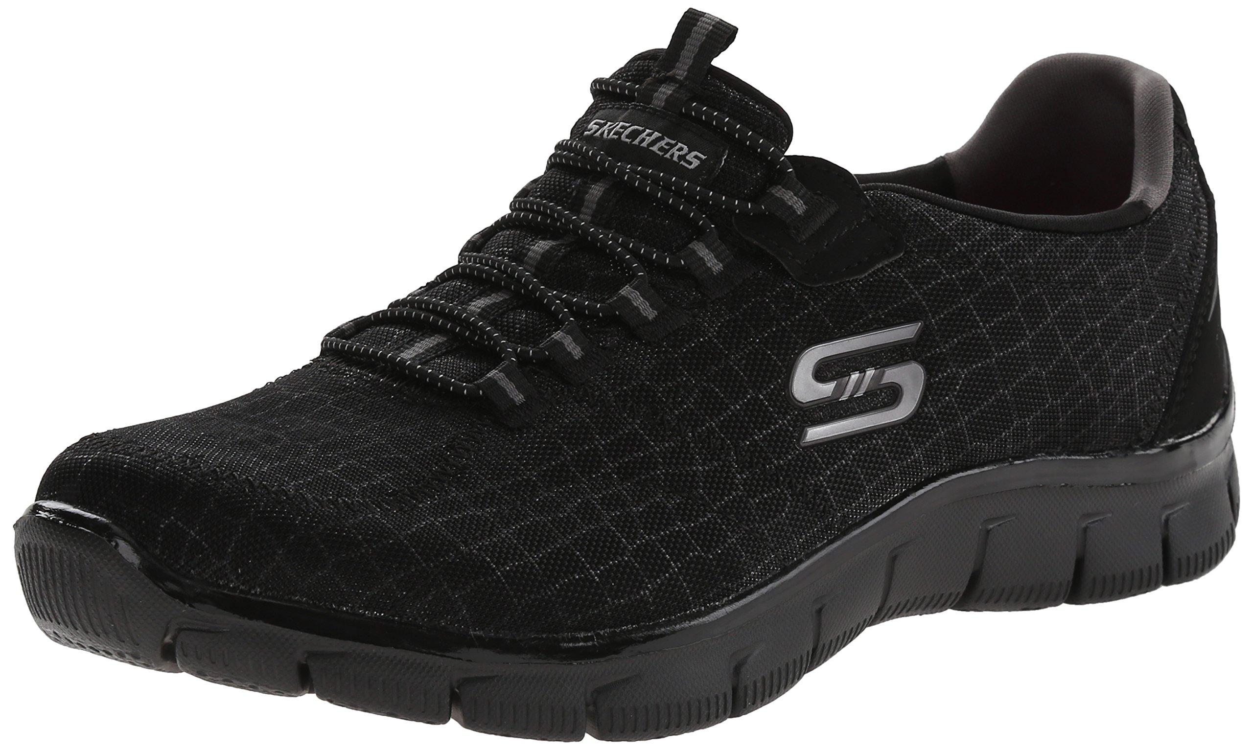 Skechers Sport Women's Rock Around Fashion Sneaker,Black Shimmer,8 M US