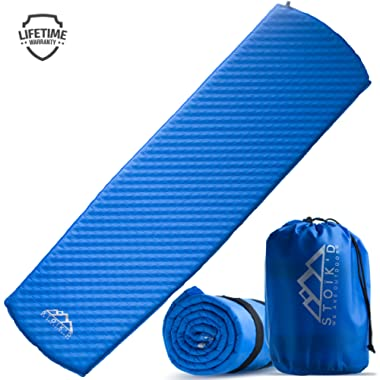 Sleeping Pad for Camping - Self Inflating Inflatable Mattress (FREE Survival Blanket) Great as a Hiking, Backpacking, Tent, or Car Sleeping Mat - Premium Thick Plush Air Foam Pads, Carry Bag Included