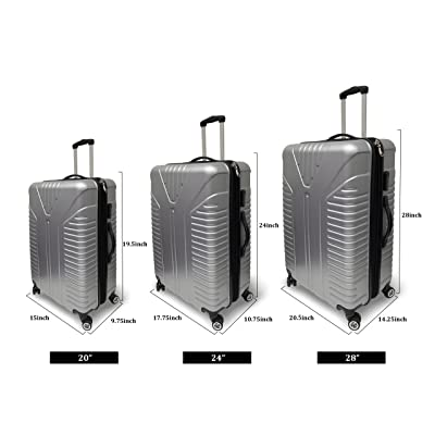 3 Piece Hardshell Grey Spinner Luggage Travel Set ABS Trolley Suitcase New