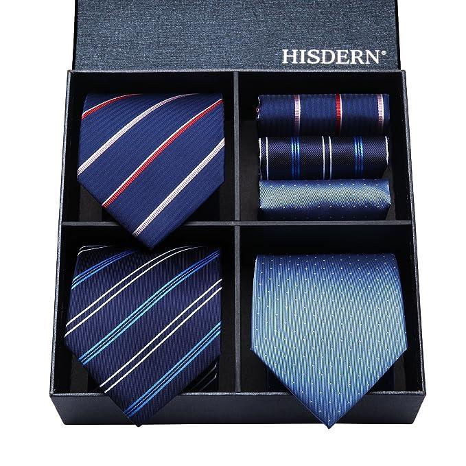 HISDERN - Corbata de hombre de color solido con rayas y puntos + un pañuelo para bolsillo.