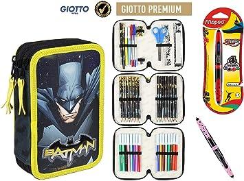 Cerdà Plumier Estuche Artesanía Premium de Cremallera Triple 3 Pisos Batman - 43 Piezas Contenido Giotto + Regalo: Amazon.es: Juguetes y juegos
