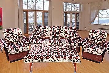 The Decor Hub Sofa Cover Set (Multicolour) -Pack of 18