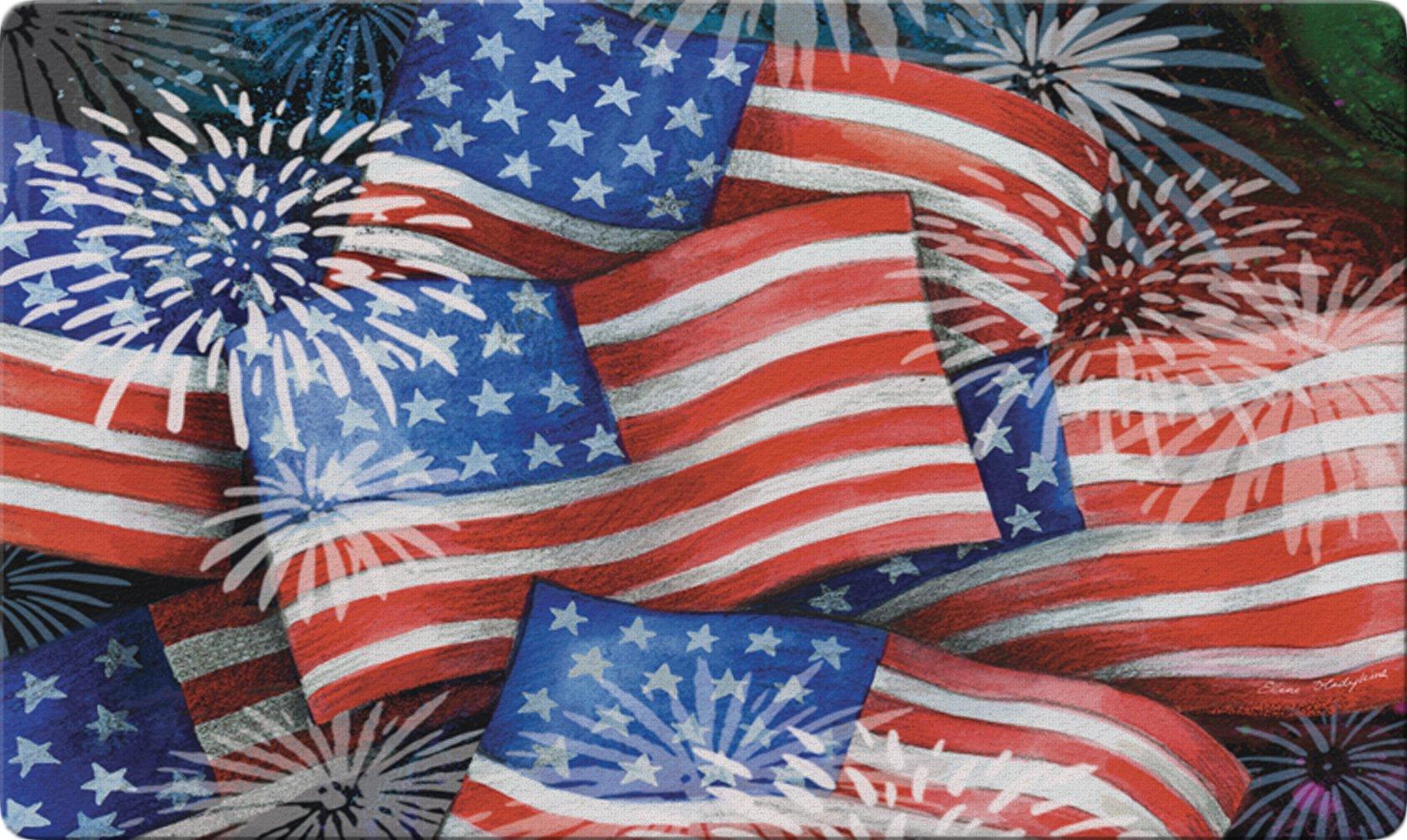 Toland Home Garden Sparkling Old Glory 18 x 30 Inch Decorative Floor Mat Patriotic USA America Flag Collage Doormat