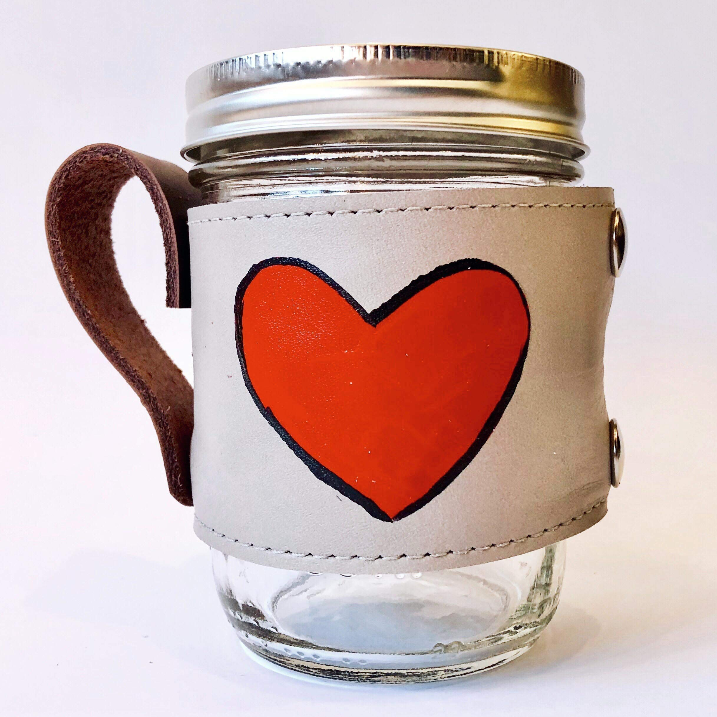 Hand painted removable red love heart mug with handle. Made in USA 16 oz. jar included.