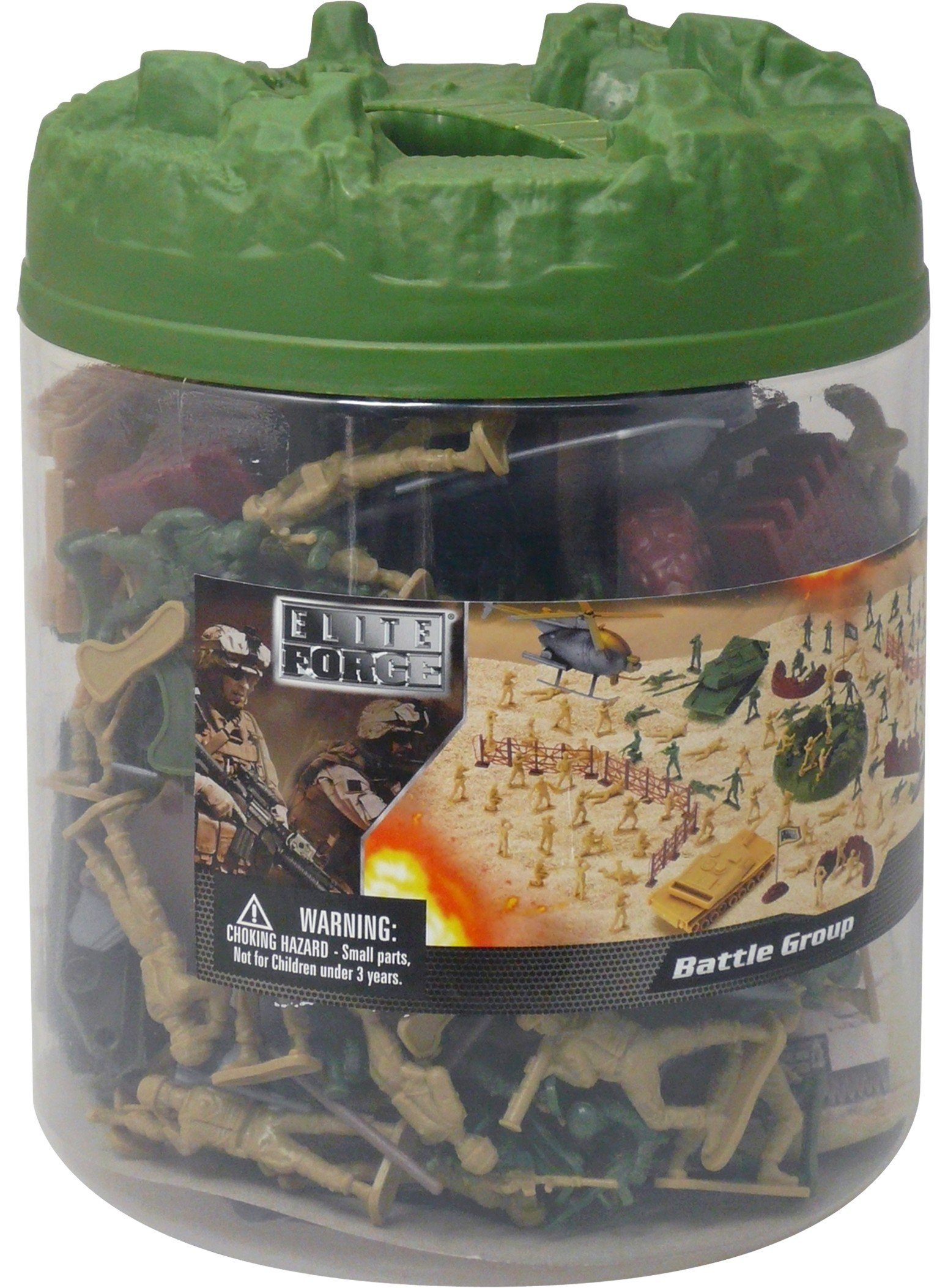 Elite Force Battle Group Army Men Play Bucket - 120 Piece Military Soldier Playset by Elite Force (Image #2)