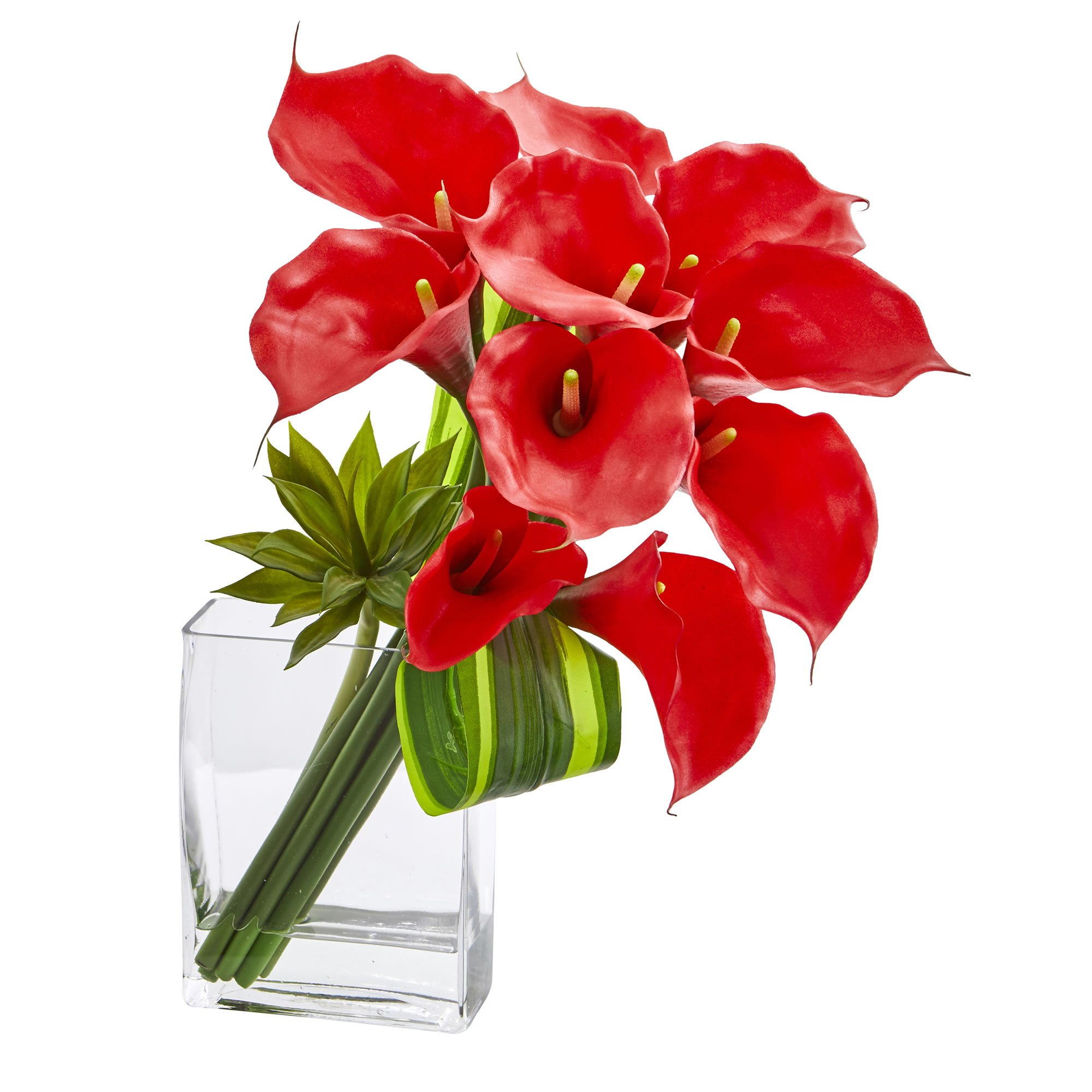Nearly Natural Calla Lily & Succulent Bouquet, 20'', Red by Nearly Natural