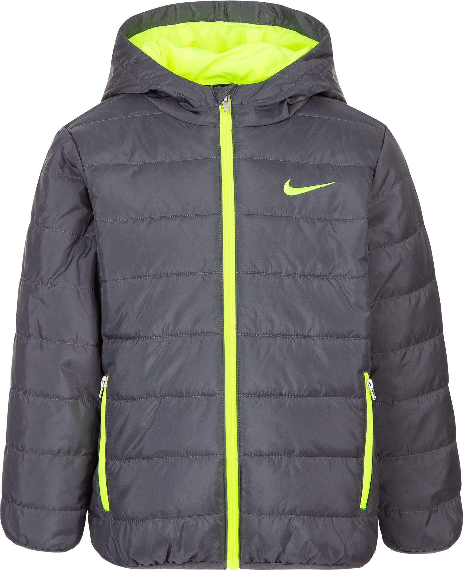 Nike Boy's Polyfill Quilted Insulated Puffer Jacket (Dark Grey, 4) by Nike (Image #1)