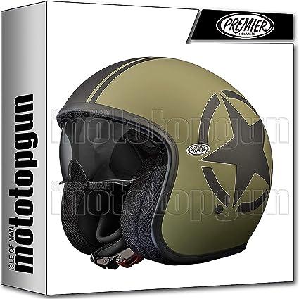 Amazon.es: Premier Casco de moto Jet Vintage Evo Star Military BM S