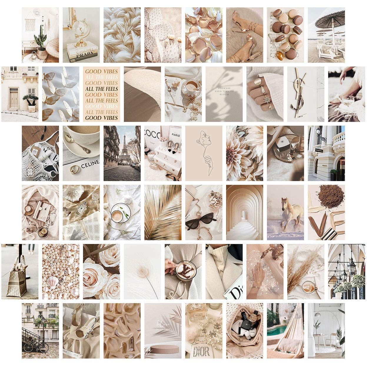 Neutral Wall Collage Kit Aesthetic Pictures, Aesthetic Room Decor, Bedroom Decor for Teen Girls, Wall Collage Kit, VSCO Room Decor, Photo Wall, Aesthetic Posters, Collage Kit (50 Set 4x6 inch)