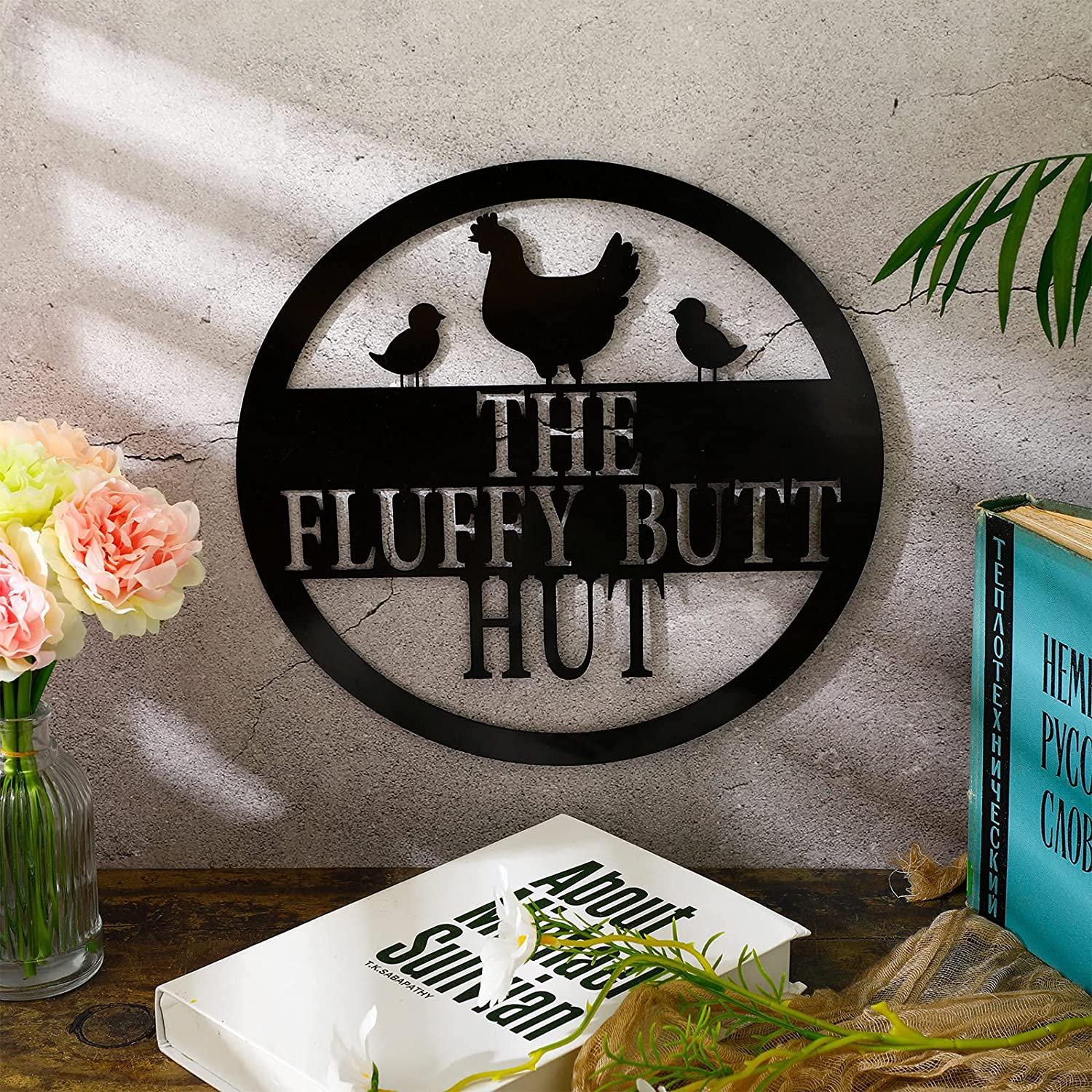 Chicken Coop Sign Fluffy Butt Hut Metal Sign Funny Chicken Coop Decor Farmhouse Wall Decor Sign Retro Vintage Wall Art Sign Wall Plaque for Kitchen Farm Home Office Chicken Shed Outdoor Decoration