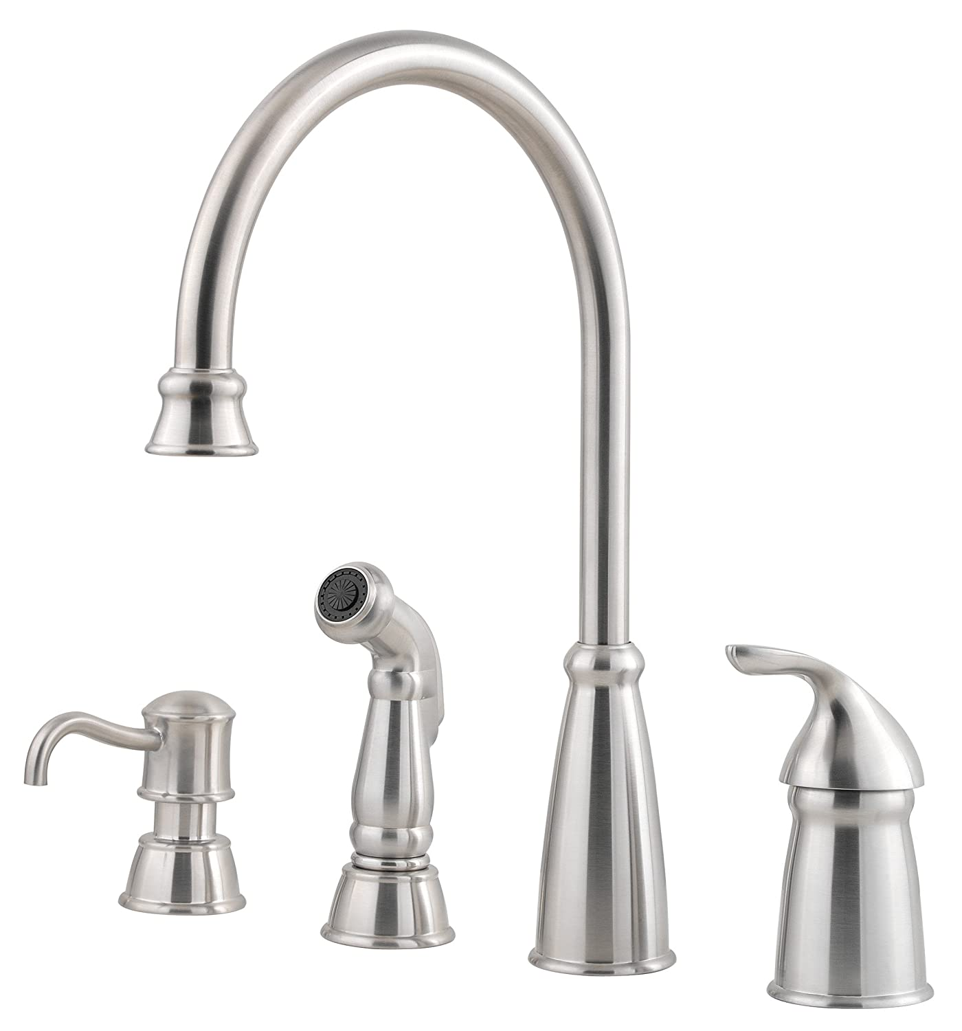 pfister avalon 1 handle kitchen faucet with side spray soap