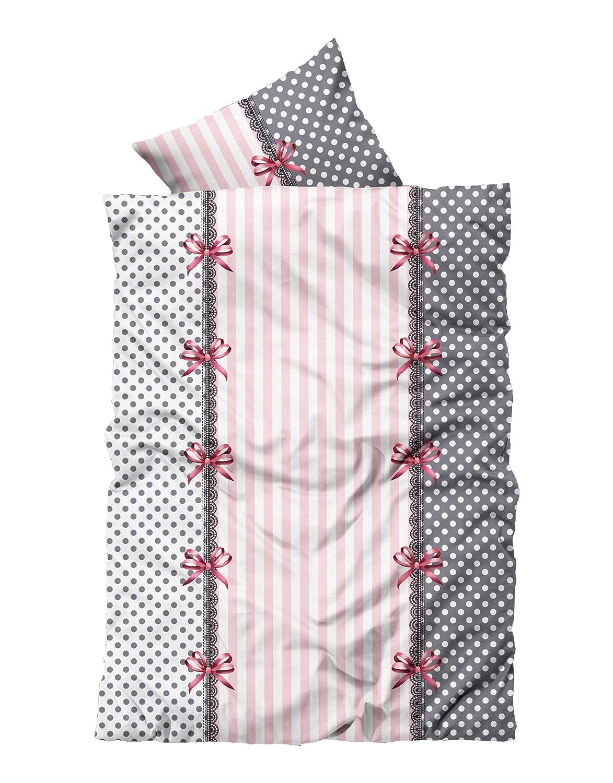 Leonado-Vicenti 4 tlg Flausch Bettwäsche 155 x 220 cm Übergröße Rosa Grau Thermofleece