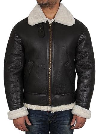 Brandslock homme blouson veste d origine en peau de mouton cuir vintag   Amazon.fr  Vêtements et accessoires e98bc5f03da8
