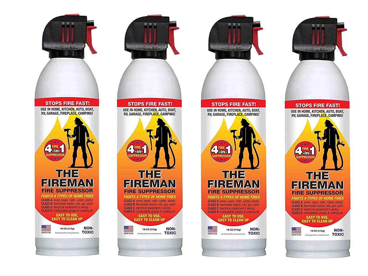 THE FIREMAN Multi-Purpose Fire Extinguishing Suppressant Spray UL APPROVED wetting agent for Home Safety – Fights ALL 4 Common Fires Wood, Gasoline, Electrical and Grease Class A,B,C K 18 oz