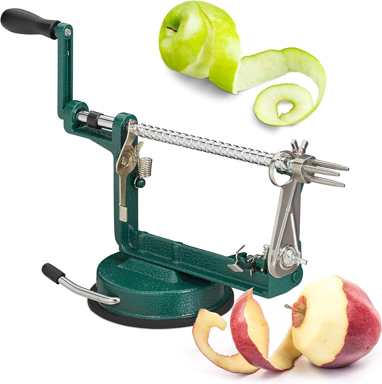 Relaxdays Máquina de pelar Manzanas, Cortador & Descorazonador, 3 en 1, con manivela, 13,5 x 30,5 x 10,5 cm, Verde, Acero Inoxidable, plástico