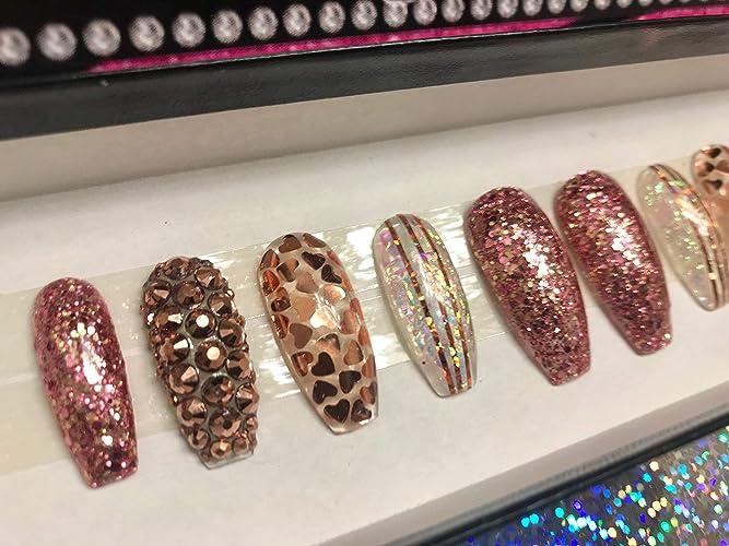 Amazoncom Heart Of Rose Gold Rose Gold Nails Hand Designed Nails