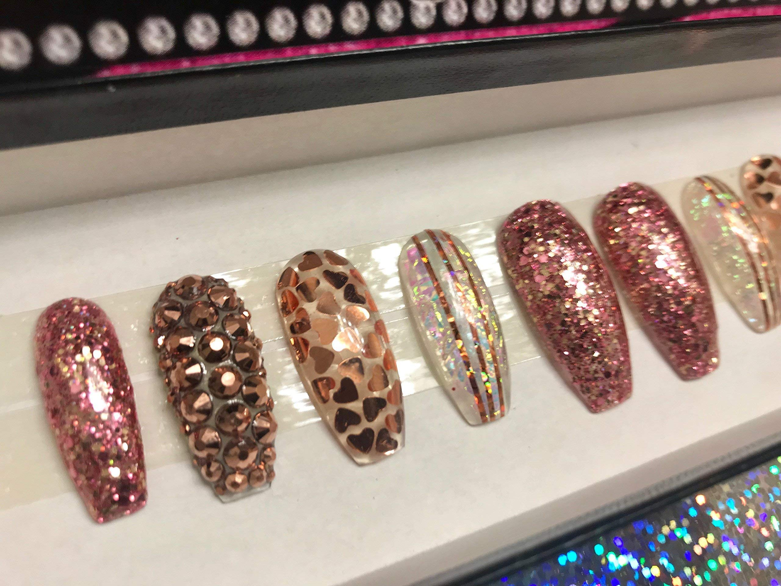 Heart of Rose Gold Rose Gold Nails Hand Designed Nails Fake Nails Designer Nails False Nails Heart Nails Glitter Nails