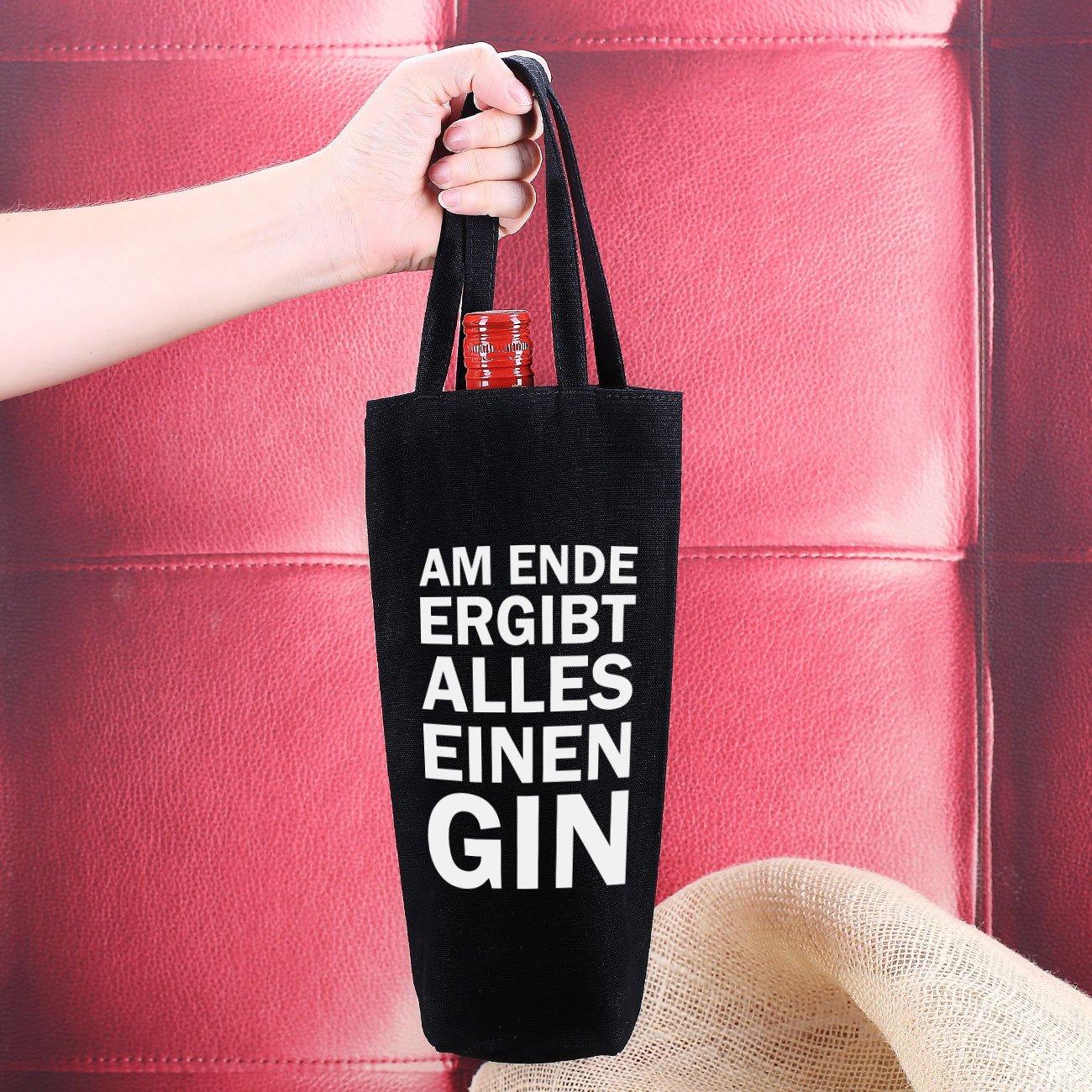 Herz /& Heim/® Flaschenbeutel zum Verschenken Am Ende ergibt alles einen Gin