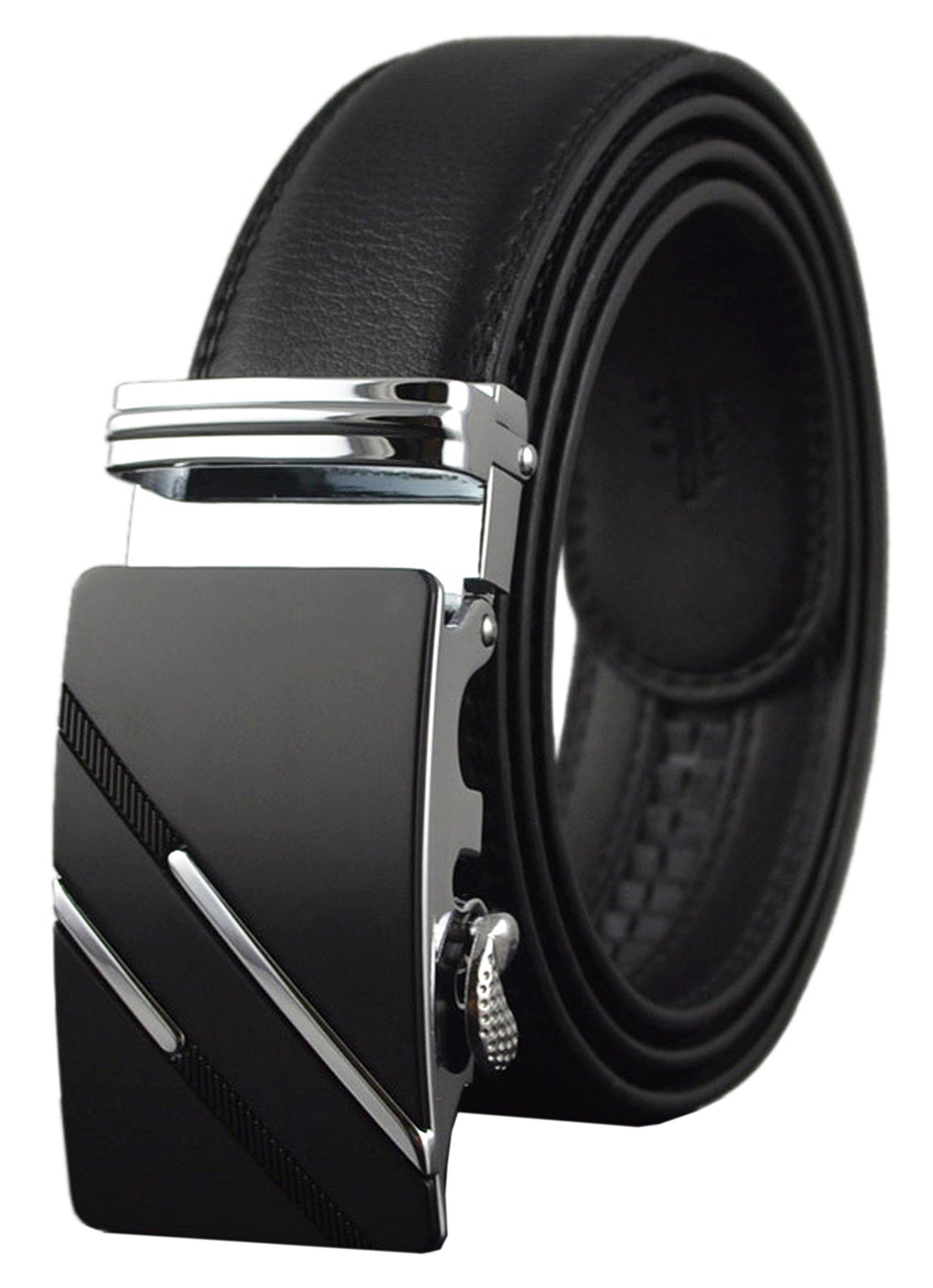 Mens Ratchet Slide Belts Leather Automatic Buckle - Black,137-S