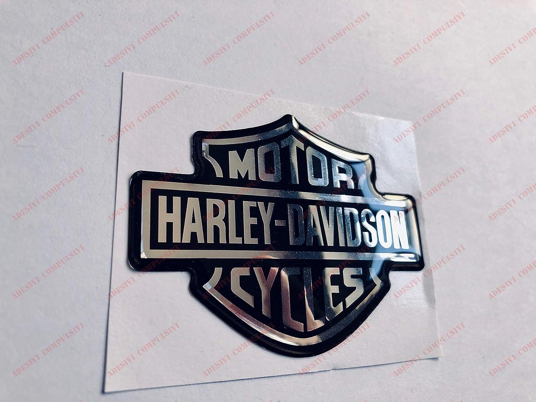 Schwarz Chrom Harley Davidson Classic Logo Aufkleber Harley Davidson Harz 3D-Effekt f/ür Tank oder Helm