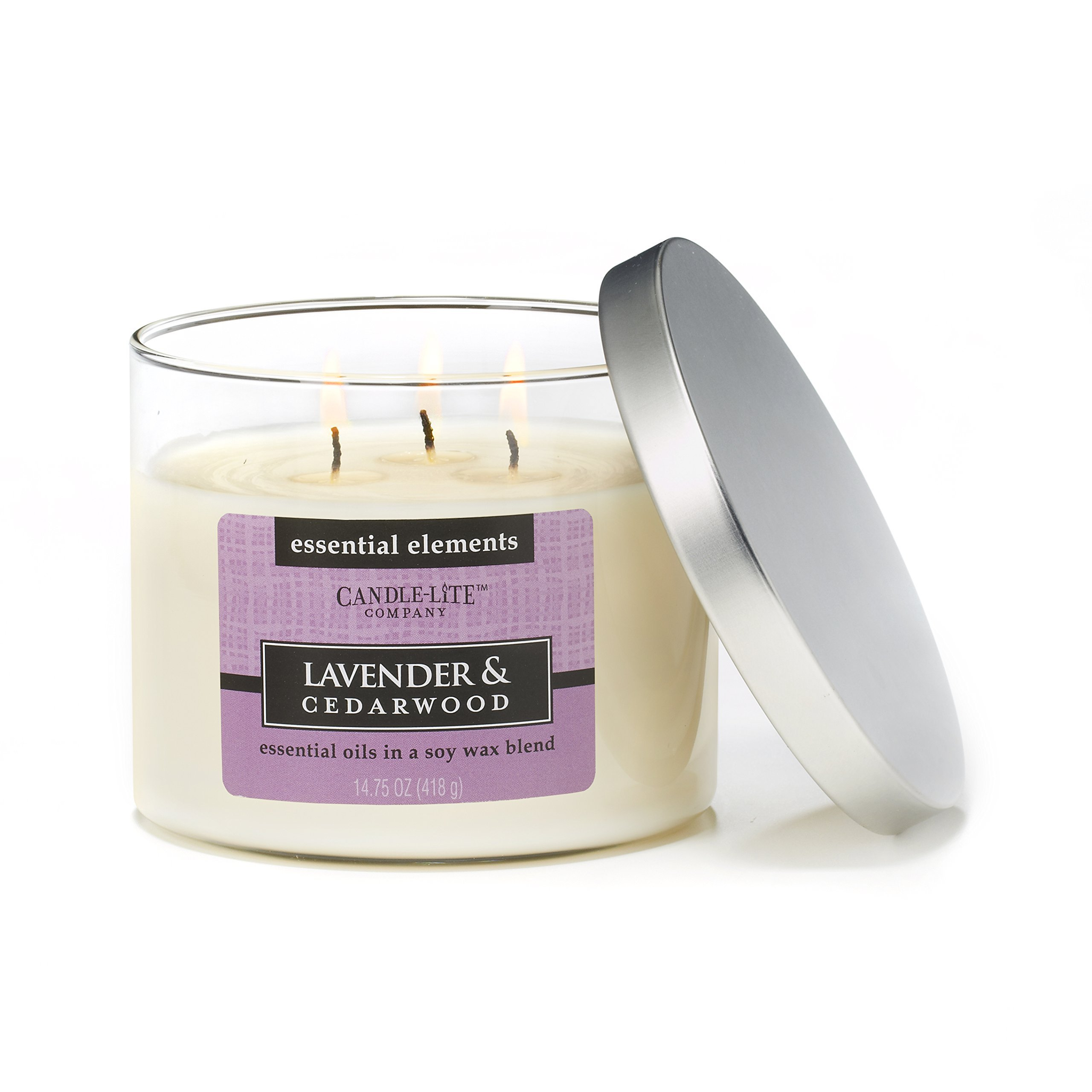 CANDLE-LITE Essential Elements 14-3/4-Ounce 3 Wick Candle with Soy Wax, Lavender and Cedarwood