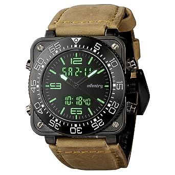 amazon com infantry mens genuine leather waterproof tactical infantry mens genuine leather waterproof tactical military digital aviator sport wrist watch