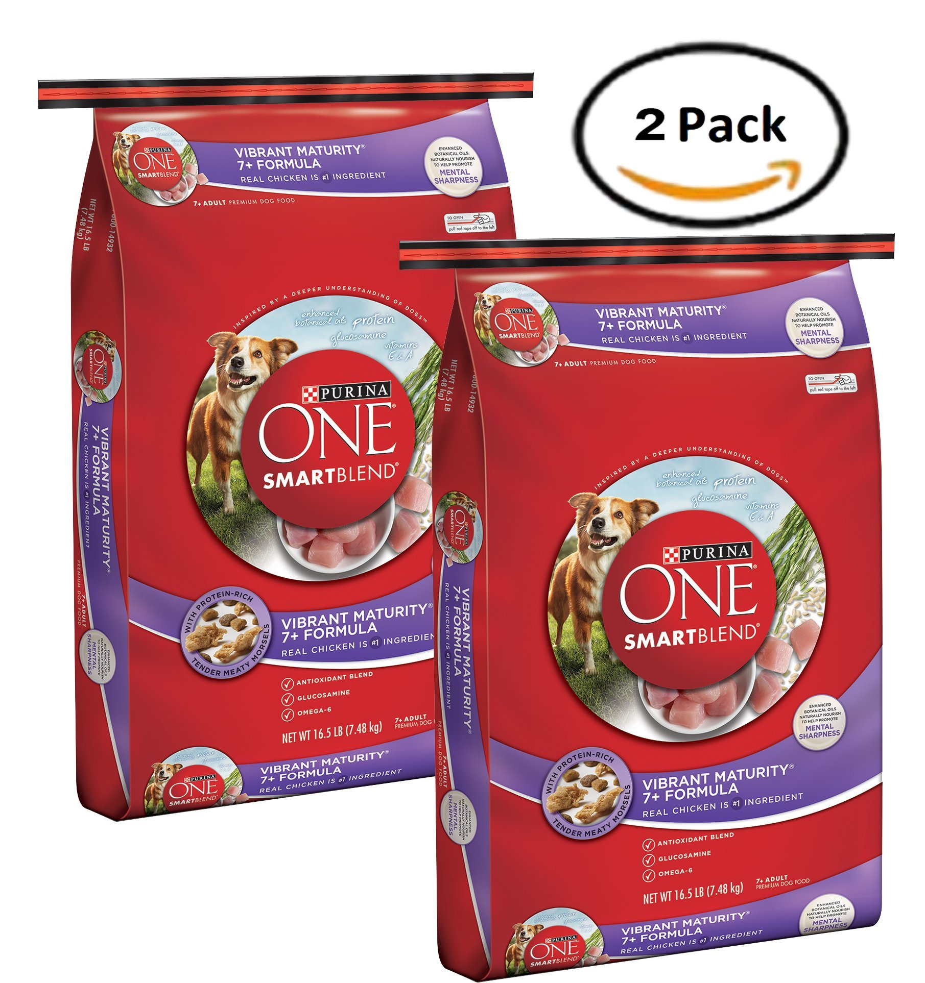 Pack of 2 - Purina ONE SmartBlend Vibrant Maturity 7+ Formula Adult Premium Dog Food 16.5 lb. Bag