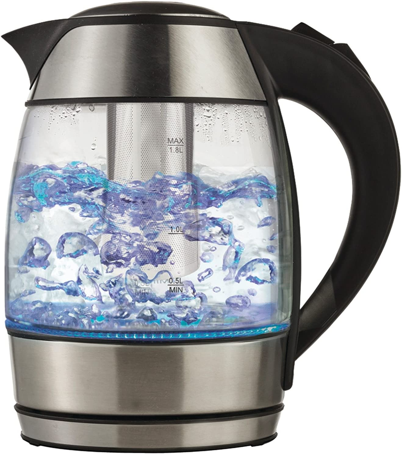 Brentwood KT-1960BK Cordless Electric Kettle with Tea Infuser, Glass 1.8L, Black