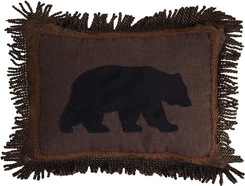 Carstens, Inc Carstens Black Bear Fringe 16×20 Throw Pillow, Brown
