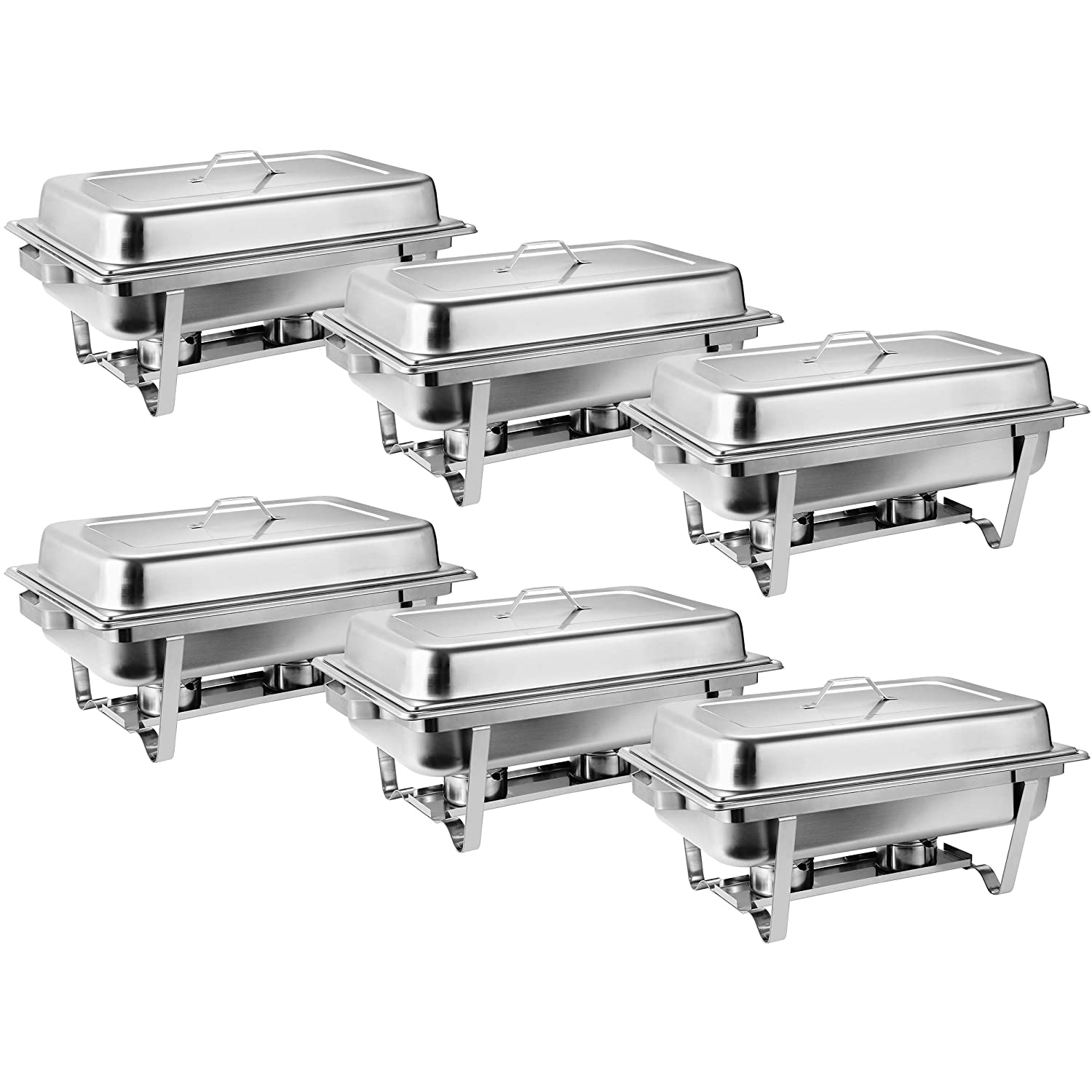 SUPER DEAL 8 Qt Stainless Steel 6 Pack Full Size Chafer Dish w/Water Pan, Food Pan, Fuel Holder and Lid For Buffet/Weddings/Parties/Banquets/Catering Events (6)