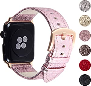 Pantheon Compatible Apple Watch Band 38mm / 40mm Shiny Leather Glitter Bands for Women - Series SE 6 5 4 3 2 1 - Shiny Pink