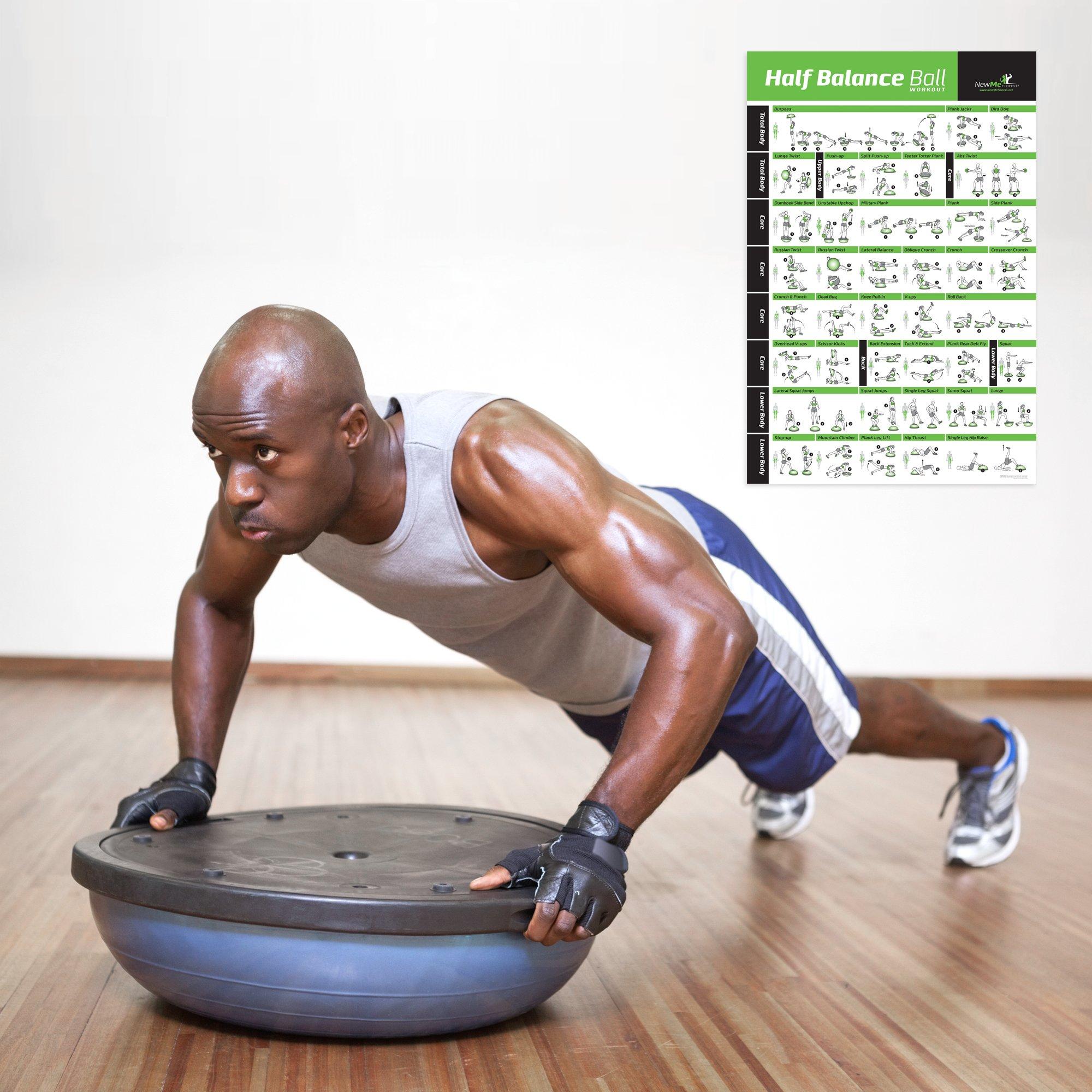Newme Fitness Half Balance Ball Workout Poster  U2013 Laminated