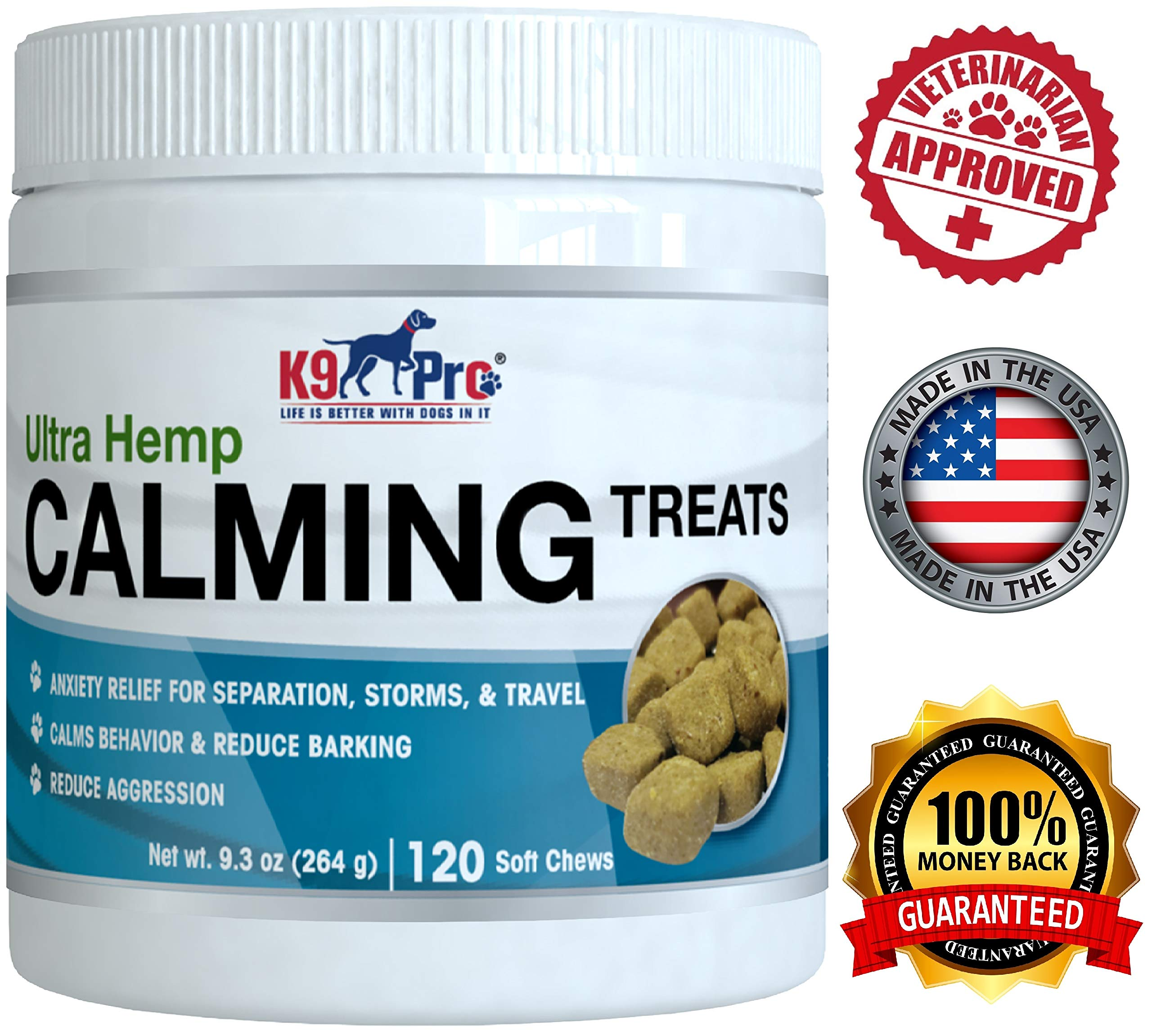 K9 Pro Calming Treats for Dogs - Tasty Hemp Anxiety Relief Chews Aid Composure and Reduce Stress Separation - Calm Behavior for Barking Storms Fireworks and Travel - Reduce Aggression by K9 Pro