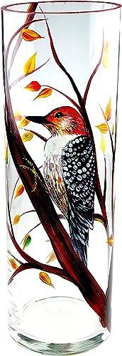 VICTORIA BELLA 11 7 8 Decorative Flower Vase Woodpecker on The Branches, Glass Budding Jar