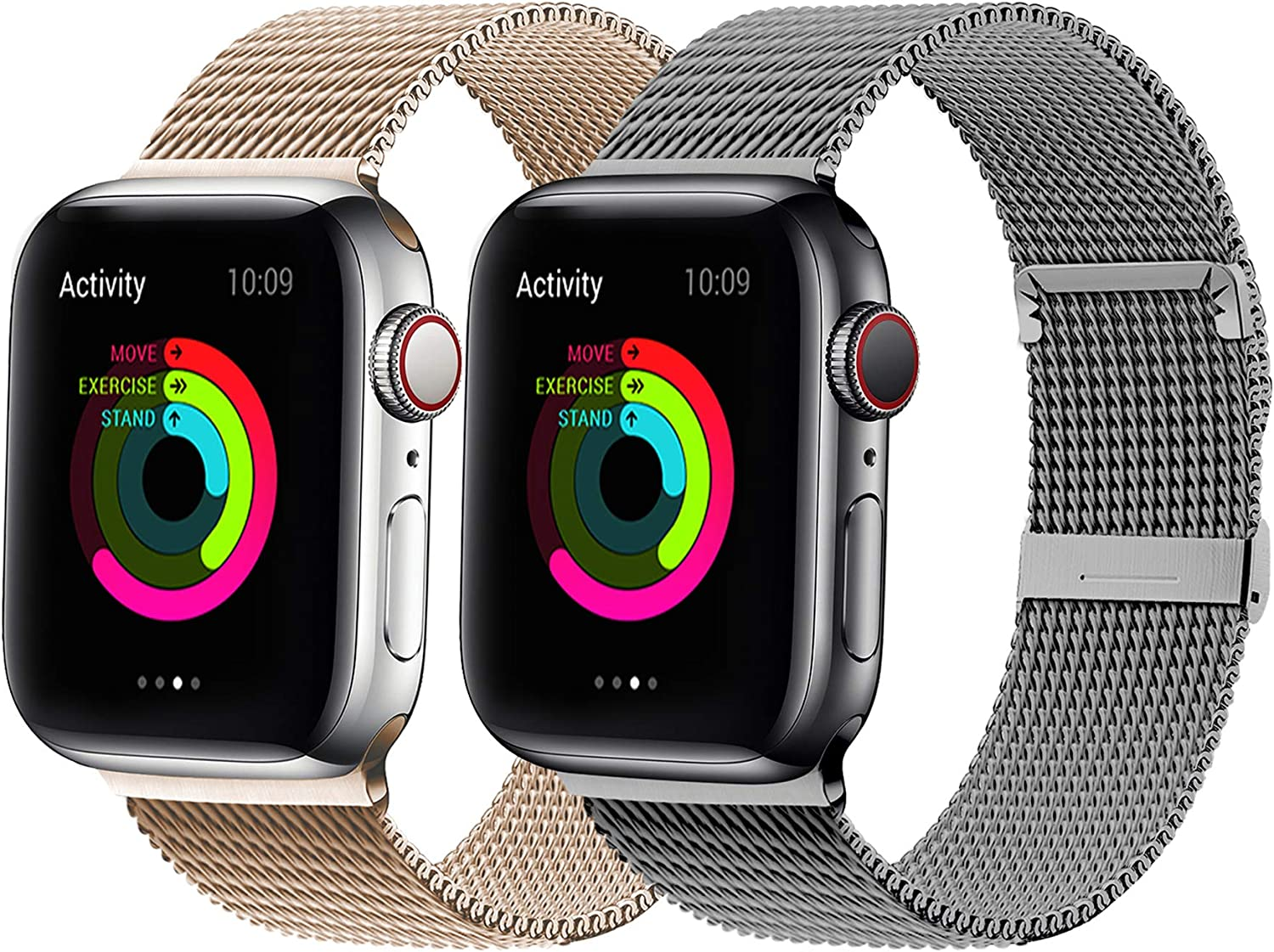 YC YANCH 2 Pack Bands Compatible for Apple Watch 38mm 40mm 42mm 44mm, Adjustable Stainless Steel Mesh Metal Loop Replacement Band Compatible for iWatch Series 6/SE/5/4/3/2/1