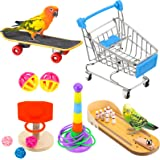 10 Pieces Bird Training Toys Parrot Training Toys Include Bowling Toy Basketball Toy Rings Shopping Cart Skateboard Bell Ball