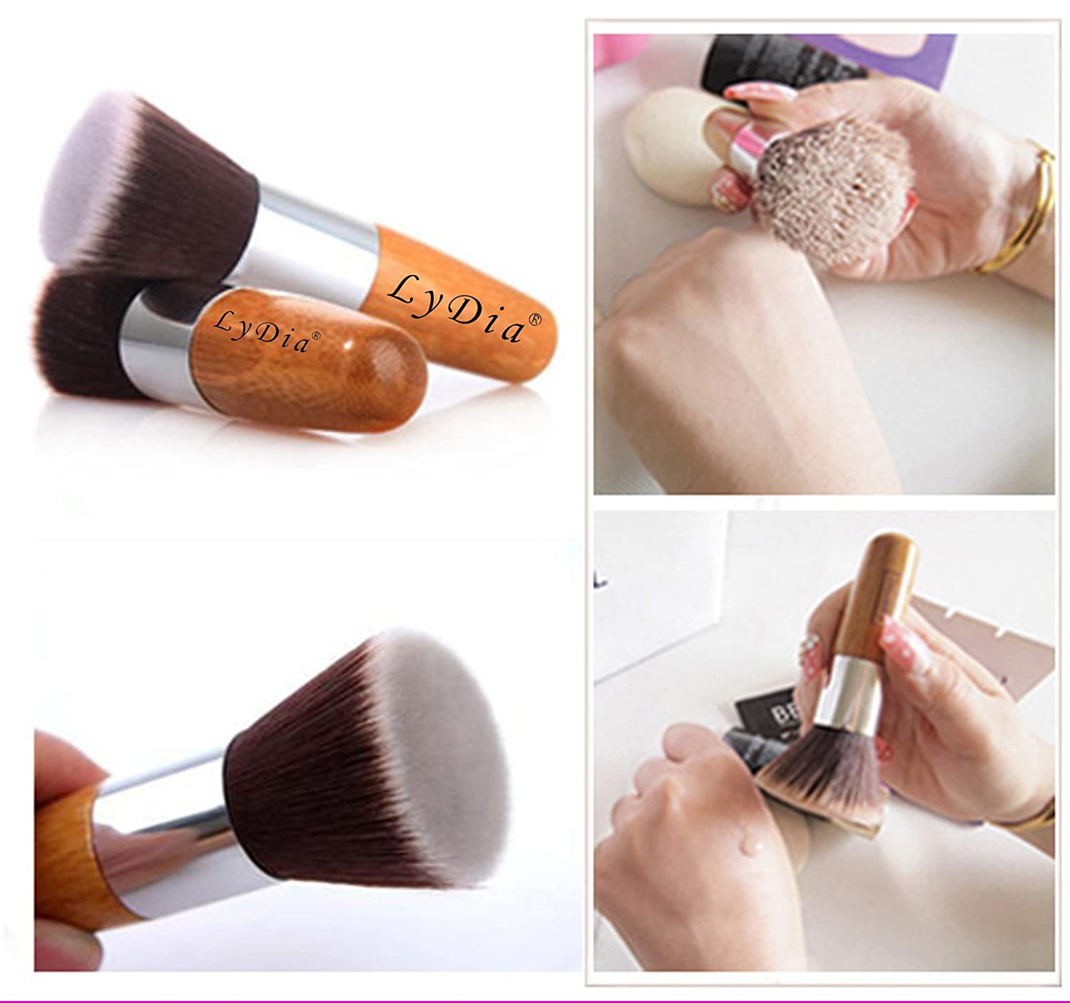 LyDia® UK STOCK Flat Top Buffer Bamboo Wooden Liquid Foundation/Powder/Bronzer Makeup Brush Flat Bamboo Brush