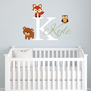 Amazoncom Animals Forest Friends Personalized Kids Name Wall - Monogram vinyl wall decals for boys