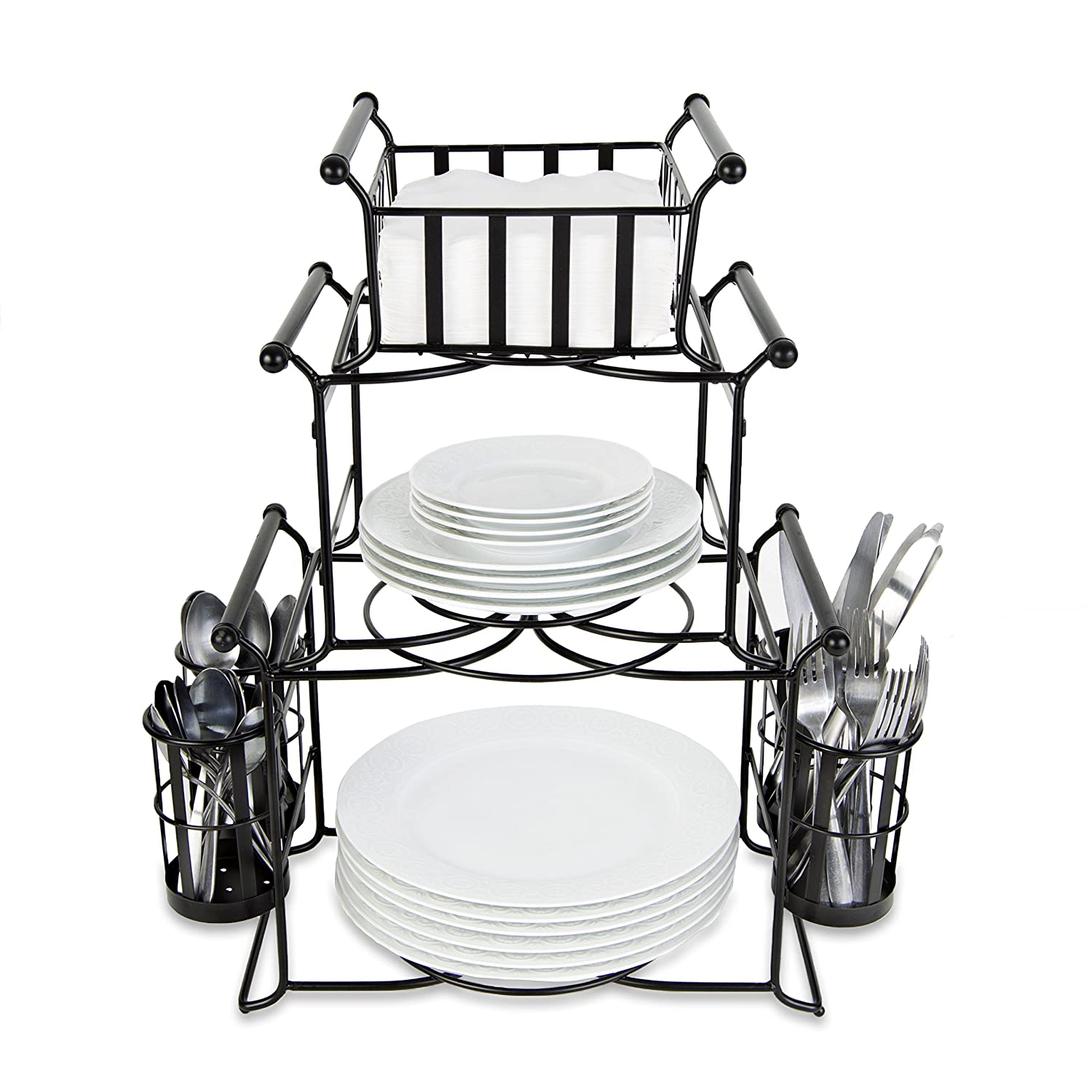 BisonHome Stackable Buffet Caddy Organizer (7-Piece Set) Modern Server for Hosting Parties, Serving Dinner, Carrying Utensils | Metal, Modular Design | Compact, Portable
