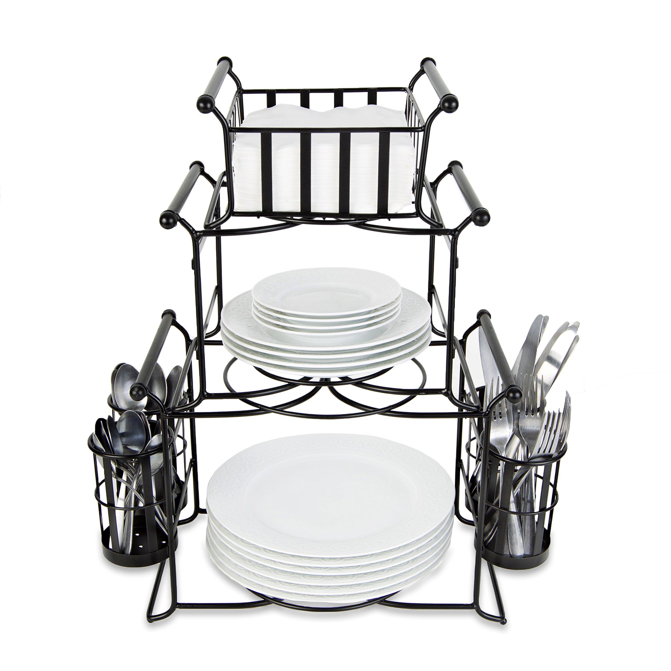 BisonHome Stackable Buffet Caddy Organizer (7-Piece Set) Modern Server for Hosting Parties, Serving Dinner, Carrying Utensils | Metal, Modular Design | Compact, Portable