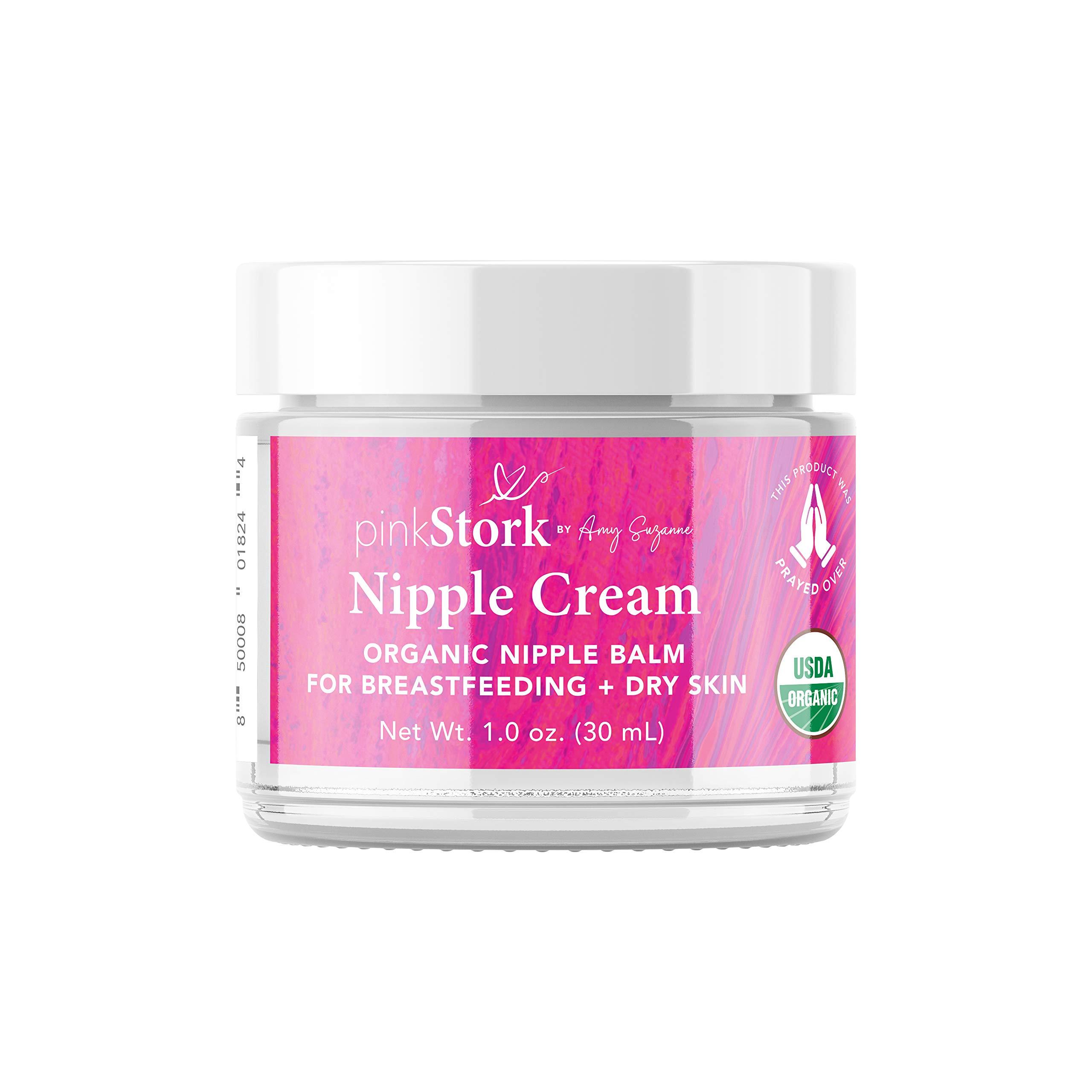 Pink Stork Nipple Cream: 100% Organic Breastfeeding Essentials with Jojoba Oil, Coconut Oil, Shea Butter, Lanolin Free, Heals Cracks + Pains, Women-Owned, 1 oz