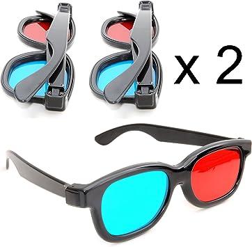 Juego de 2 Gafas 3D anaglíficas (para TV o PC de Juegos (Rojo/Azul), 3D Gafas para televisor, 3D de Vasos con tecnología anaglyphen – Marca Ganzoo: Amazon.es: Electrónica