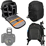 DURAGADGET Black & Grey Backpack for Canon EOS 1300D|1200D|1100D|750D|700D|650D|600D|550D|350D|100D|70D|60D|7D|6D|5D|Kiss X50|PowerShot SX510 HS|Rebel T4i|Rebel T3 - With Waterproof Rain Cover