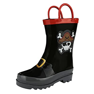 Puddle Play Kids Boys' Pirate Character Printed Waterproof Easy-On Rubber Rain Boots (Toddler/Little Kids)